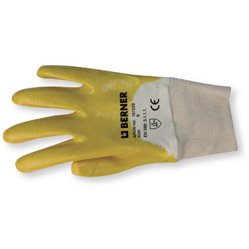 Knitted gloves with yellow nitrile coating, sz. 10